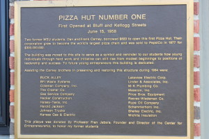 """We are proud to be listed on this """"Pizza Hut Number One"""" plaque"""